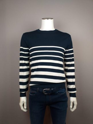 Scotch & Soda pull ronde hals blauw off white